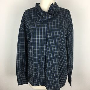 Zara Navy Windowpane Check Blouse  XL